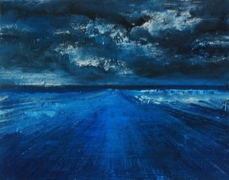 Goran Petmil; WINTER STORM, 2013, Original Painting Oil, 20 x 16 inches. Artwork description: 241  THE BEACH, PAINTING OF THE BEACH IN THE WINTER. STORMY SAKY. THE HORIZON, OIL ON CANVAS   ...