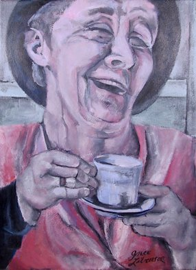 Grace Liberator; Belly Laugh, You Know You..., 2004, Original Painting Oil, 21 x 28 inches. Artwork description: 241  Belly Laugh, You know you Want one is a portrait of a laughing woman. The overall tones are soft pinks greens and is a very happy painting.  ...