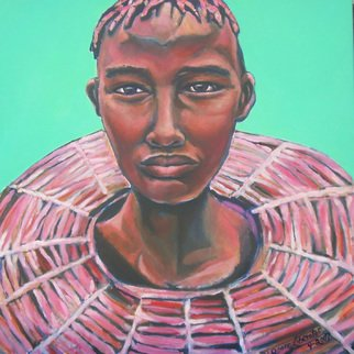 Grace Liberator; Yes I Am Here, 2007, Original Painting Oil, 24 x 24 inches. Artwork description: 241   Portrait of African Woman with Weding Necklace.  People Portrait with beautiful pinks, light oranges....