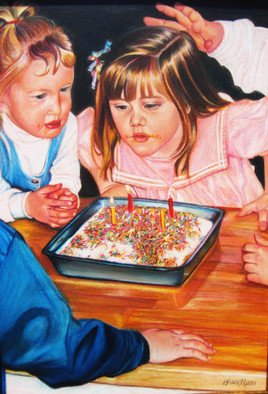 Grace Ryser; Birthday Party, 2007, Original Drawing Pencil, 10 x 15 inches. Artwork description: 241  My 4th Birthday Party, childhood memories ...
