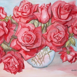 Ghassan Rached, , , Original Watercolor, size_width{Eleven_Roses-2-1028391435.jpg} X 40 cm