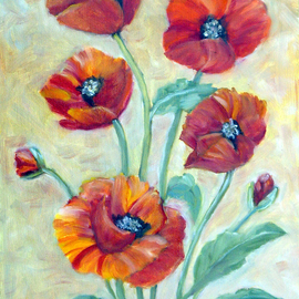 Ghassan Rached, , , Original Painting Oil, size_width{Five_Poppies-1216241350.jpg} X 12 inches