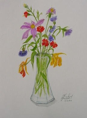 Ghassan Rached; Flower Assortment, 1999, Original Watercolor, 36 x 48 cm. Artwork description: 241 Watercolor paintimg by Ghassan Rached...
