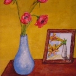 Ghassan Rached, , , Original Watercolor, size_width{Four_Poppies-1011205630.jpg} X 24 inches
