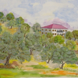 Ghassan Rached, , , Original Watercolor, size_width{House_in_Olive_Grove-1028652072.jpg} X 36 cm