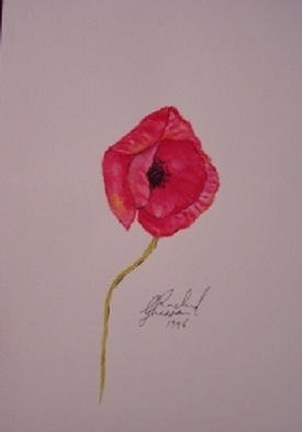 Ghassan Rached; Lonely Poppy, 1996, Original Watercolor, 17 x 24 cm. Artwork description: 241 Watercolor paintimg by Ghassan Rached...