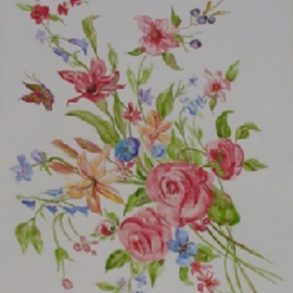 Ghassan Rached, , , Original Watercolor, size_width{Punch_of_Flowers-1011205769.jpg} X 48 cm