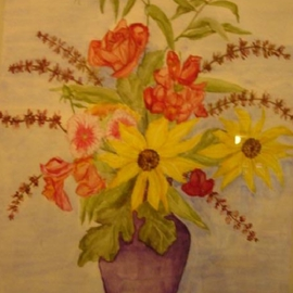 Ghassan Rached, , , Original Watercolor, size_width{Roses_and_Sunflowers-1028651241.jpg} X 48 cm