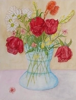 Ghassan Rached; Roses In Glass Vase, 1998, Original Watercolor, 36 x 48 cm. Artwork description: 241 Watercolor paintimg by Ghassan Rached...