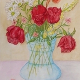 Ghassan Rached, , , Original Watercolor, size_width{Roses_in_glass_vase-1028651411.jpg} X 48 cm