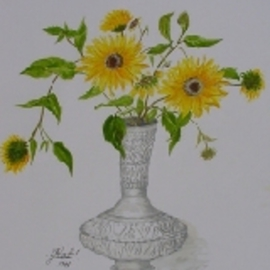 Ghassan Rached, , , Original Watercolor, size_width{Sunflower_in_a_metal_vase-1028393280.jpg} X 42 cm
