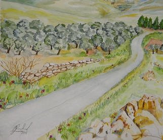 Ghassan Rached; To Ain-Ebel, 2002, Original Watercolor, 48 x 36 cm. Artwork description: 241 Watercolor painting by Ghassan Rached...