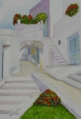 Ghassan Rached; Village Architecture, 1998, Original Watercolor, 28 x 40 cm. Artwork description: 241 Watercolor paintimg by Ghassan Rached...