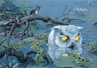 Bernhard Oberdieck; White Owl, 2005, Original Illustration, 42 x 30 cm. Artwork description: 241 Children's book illustration...