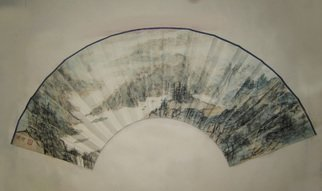 Grace Auyeung; Fan With Landscape For A ..., 2005, Original Painting Ink, 15 x 12 inches.