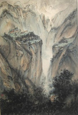 Grace Auyeung; Landscape Of Guo Liang, 2005, Original Painting Ink, 24 x 38 inches.