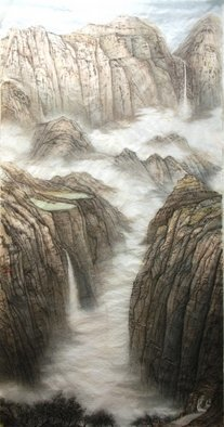 Grace Auyeung; Landscape Of Guoliang, 2009, Original Painting Ink, 24 x 38 inches. Artwork description: 241     landscape, cloud, mists,  Chinese landscape, ink wash painting , mountains   ...
