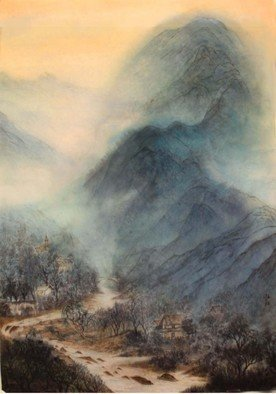 Grace Auyeung; Landscape Of Slovenia, 2008, Original Painting Ink, 24 x 32.5 inches. Artwork description: 241      landscape, cloud, mists, river, Chinese landscape, ink wash painting , mountains    ...