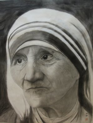 Grace Auyeung; Compassion, 2012, Original Painting Ink, 26.5 x 36.5 cm. Artwork description: 241 A FACE PORTRAYING MOTHER THERESA, S COMPASSIONATE EXPRESSION WITH DOLEFUL EYES...
