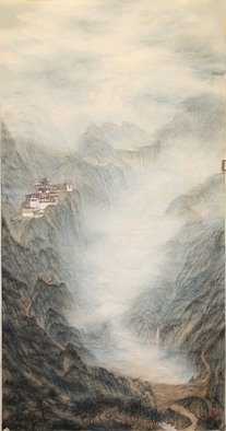 Grace Auyeung; Retreat, 2012, Original Painting Other, 69 x 138 cm. Artwork description: 241 MENTAL PORTRAYAL OF A LANDSCAPE DEPICTING A MONASTERY, A SPIRITUAL SYMBOL FOR THE MUNDANE  CHINESE INK, COLOUR ON XUAN PAPER...
