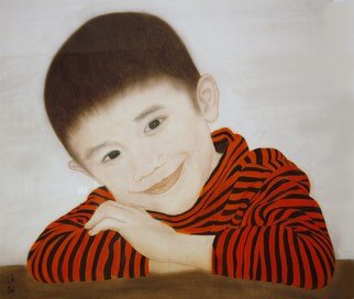 Grace Auyeung; Tadpole Years 2, 2011, Original Painting Other, 61 x 71 cm. Artwork description: 241 PORTRAIT OF A 4- YEAR- OLD WITH ANGELICINNOCENT EXPRESSION  CHINESE INK, COLOUR, WATER ON XUAN PAPER...