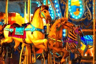Db Jr; Let S Go Round On Glass, 2017, Original Digital Painting, 30 x 20 inches. Artwork description: 241 Picture comes on glass ready to hang.merry go round, circus, fun, child, children, beach, city, fair, county fair, play, youth, kids, ...