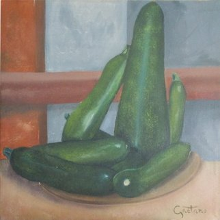 Stefano Gaetano; Le zucchine di Marco, 2015, Original Painting Oil, 24 x 30 cm. Artwork description: 241  my cousin garden's zucchini ...