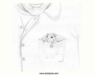 Kathi Day; Boutonniere, 2005, Original Drawing Pencil, 9 x 8 inches. Artwork description: 241 A hamster in the pocket is better than a flower in the button hole. This little furry one even has a peirced ear. ; )...
