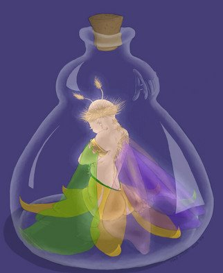 Kathi Day; Fairy In A Bottle, 2006, Original Digital Art, 8 x 10 inches. Artwork description: 241  A fairy in a bottle. Or a Djinn, depending on your mythology? ...