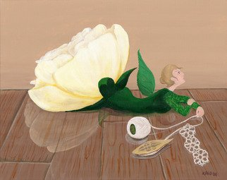 Kathi Day; Gallery Faerie, 2006, Original Painting Acrylic, 20 x 16 inches. Artwork description: 241  Tatting shuttle, thread and lace accompany a stuffy floral still- life Gallery Faerie. Reflections show in the slightly lumpy, polished wooden surface. ...
