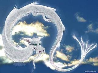Kathi Day; Skydragon, 2013, Original Digital Art, 8 x 10 inches. Artwork description: 241  dragon sky rainbow clouds ...