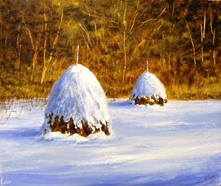 Ivan Grozdanovski; Haystack Under Snow, 2013, Original Painting Acrylic, 40 x 30 cm. Artwork description: 241                        Haystack under snow  landscape               Cottage in early spring                      ...