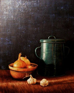 Ivan Grozdanovski; Onions And Pan Fat, 2014, Original Painting Acrylic, 30 x 25 cm. Artwork description: 241                          Onions and pan                Cottage in early spring                        ...