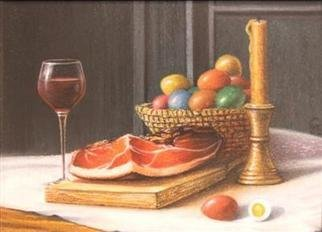 Ivan Grozdanovski; USKRSNJI DORUCAK, 2005, Original Pastel, 30 x 20 cm. Artwork description: 241   uskrs 2005 ...