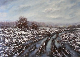 Ivan Grozdanovski;  Rural Road In Winter, 2013, Original Painting Acrylic, 70 x 50 cm. Artwork description: 241   Rural road in winter                  ...