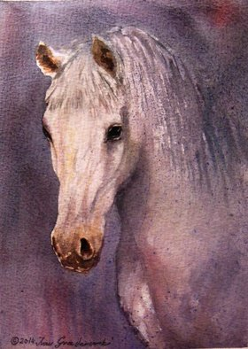 Ivan Grozdanovski; Portrait Of A White Stallion, 2013, Original Watercolor, 18 x 13 cm. Artwork description: 241                     portrait of a white stallion  landscape               Cottage in early spring                  ...
