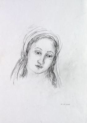 Hana Grosova; Angel, 2011, Original Drawing Pencil, 21 x 29.7 cm. Artwork description: 241  Drawing pencil according toyoung lady face ...