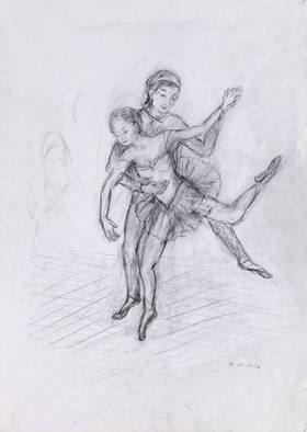 Hana Grosova; Dancers, 2012, Original Drawing Pencil, 21 x 29.7 cm. Artwork description: 241  Dancers, imagination.  ...