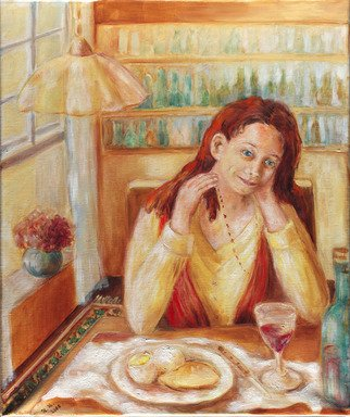 Hana Grosova; Dreaming Girl, 2005, Original Painting Oil, 19.3 x 23.2 inches. Artwork description: 241  This picture shows the dreaming girl  sitting by the table. On the table there is one plate with food and there you can see also one bottle and one glass with drink. ...