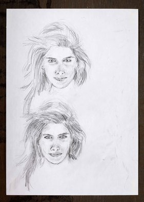 Hana Grosova; Face, 2010, Original Drawing Pencil, 21 x 29.6 cm. Artwork description: 241  One face in two studies      ...