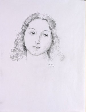 Hana Grosova; Girl, 2005, Original Drawing Pencil, 21 x 29.7 cm. Artwork description: 241  Drawing according to Raffaello ...