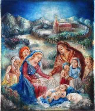 Hana Grosova; Holy Family, 2005, Original Painting Oil, 24 x 28 cm. Artwork description: 241  Jesus Child with his family and persons around. ...