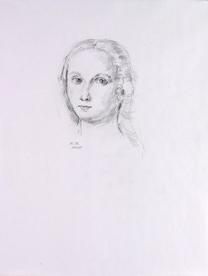 Hana Grosova; Lady, 2005, Original Drawing Pencil, 21 x 29.7 cm. Artwork description: 241  Lady according to Raffaello. ...