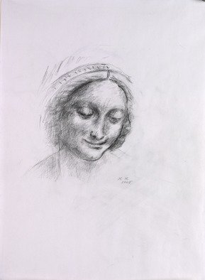 Hana Grosova; Madona, 2005, Original Drawing Pencil, 21 x 29.7 cm. Artwork description: 241  Portrait according to Leonardo. ...