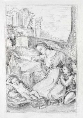 Hana Grosova; Madona With Child, 2006, Original Drawing Pencil, 29.7 x 38.8 cm. Artwork description: 241  Drawing according to Raffaello ...