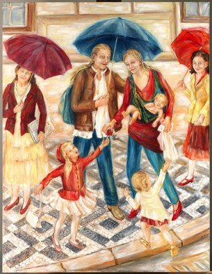 Hana Grosova; Madona With Umbrella, 2009, Original Painting Oil, 116.7 x 152.2 cm. Artwork description: 241  Young mother with her family and two ladies around situated in Prague street. ...