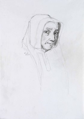Hana Grosova; Old Lady, 2005, Original Drawing Pencil, 21 x 29.7 cm. Artwork description: 241  Pencil drawing according to Hans Holbein ...