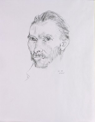 Hana Grosova; Portrait, 2005, Original Drawing Pencil, 21 x 29.7 cm. Artwork description: 241  Pencil drawing according to Vincent Van Gogh ...
