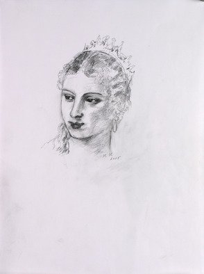 Hana Grosova; Portrait Of Young Lady, 2005, Original Drawing Pencil, 21 x 29.7 cm. Artwork description: 241  Portrait according to Titian / Tiziano Vecellio/ . ...