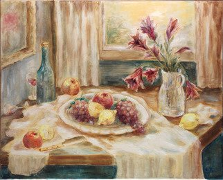 Hana Grosova; Still Life With Lilies, 2005, Original Painting Oil, 32.3 x 26.2 inches. Artwork description: 241  This picture shows fruit, bottle with glasses and lilies in the pot situated on the table. The whole scene is glittering by the light coming from the window. ...